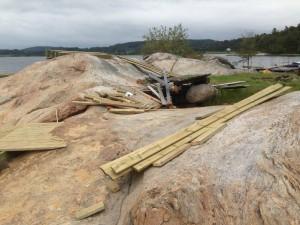 Åh-bryggan under byggnation. Juli 2015. Foto: Carina Etander Rimborg