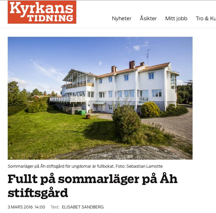 Fullt på sommarläger på Åh stiftsgård. Kyrkans Tidning 3 mars 2016.