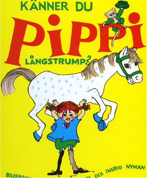 Pippi Långstrump. Bild  Ingrid Vang Nyman. Illustration till pjäsen Pippi kommer till stan, Malmö.